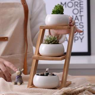 1 Set Minimalist 3-Tier Bamboo with White Ceramic Pots
