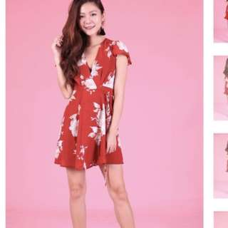 krystlea floral wrap dress in red LBRLABEL