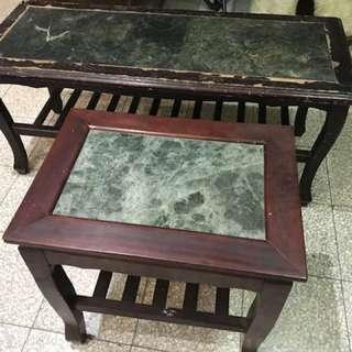 大理石面實木桌