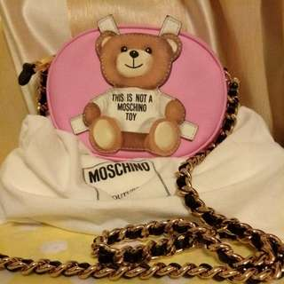 Moschino Cross Teddy Bear Leather Shoulder Bag Pink
