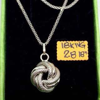 18k White Gold Necklace and Pendant