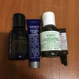 Kiehls Cleansing Oil / Facial Fuel / Cucumber Toner / Eye Brightening Concentrate