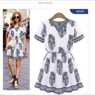 Rayon Cotton Printed 3D Vintage Dress
