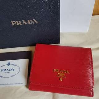 近全新 prada 三摺銀包 wallet purse not chanel tory burch ysl chloe celine