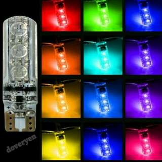 T10 W5W RGB LED BULB   ★Remote + 3 Led Bulb (PROMO)   ★Change to your desire colors     Still, Flash, Strobe, RGB,     Brightness and Fade Mode  ★Upgraded Ver From Gen 1  ★Brighter 820 Led  ★Faster Responsive  ★Constant Current  ★Canbus Gen 3  IN STOCK