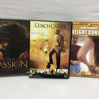 FLASH SALE ORIGINAL DVDs (Coach Carter, Passion of the Christ, Weight Control)