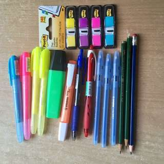 Stationery Set with Pen, Pencil , Highlighter , Page Flags Labeller #HUAT50Sale