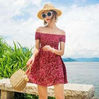 Red Nika Off Shoulder Floral Dress