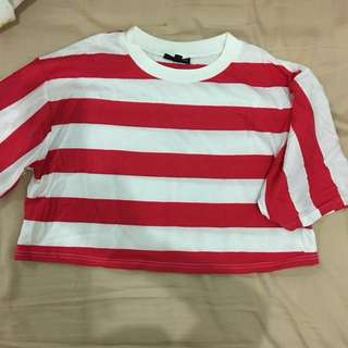 Topshop red white stripes crop tee