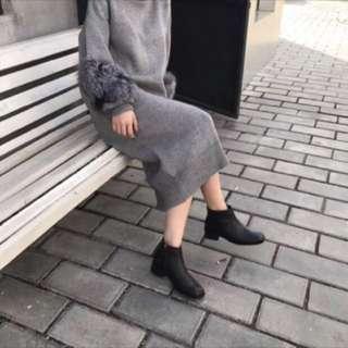 🚚 [2手]方頭低跟簡約短靴