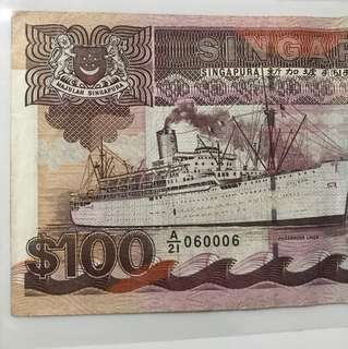Nice fancy no : 060006  with ship Series 100 Dollar Note