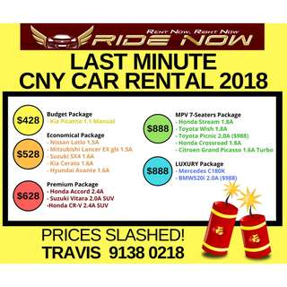 ALL MUST GO car rental Chinese New Year 2018 14-21 Feb 2018 Package prices slashed