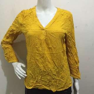 ETAM yellow polka dots casual office blouse large