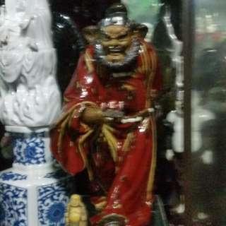 China Tauism Porcelain Figurine King of the Ghost ( Chong Kui )新中国1949-1965石湾陶瓷石榴红钟馗雕像(名家刘泽民做)