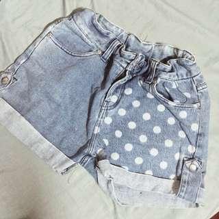 High waisted Garterized Maong shorts