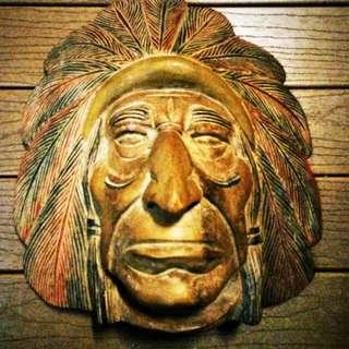 Hardwood American Indian Head