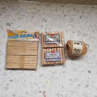 Craft sticks/jute/wooden pegs