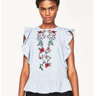 Zara Embroidered blouse top M open back