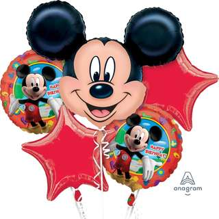 Mickey Mouse Birthday Balloon Bouquet (Helium w/ Weight) (Item #: 18659)