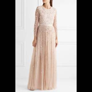 NEEDLE & THREAD Celestial embellished tulle gown (Pink, Wore once)