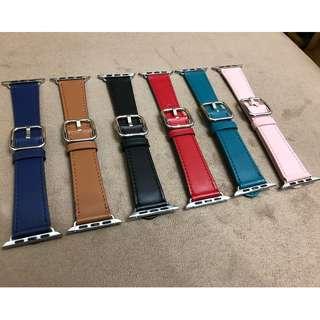 Apple Watch 錶帶 apple store 同款 原裝扣真皮帶款 六色經典扣式錶帶 黑色 啡色 38mm 42mm Apple Watch Leather Strap 4 colors (非原裝)
