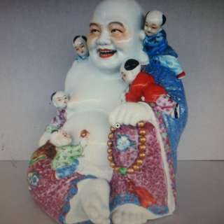 China Gindezhen Porcelain Rosemalle Colorful Laughing Buddha.新中国50年代重彩瓷弥勒佛雕像