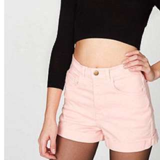 American Apparel baby pink high waisted shorts size 24