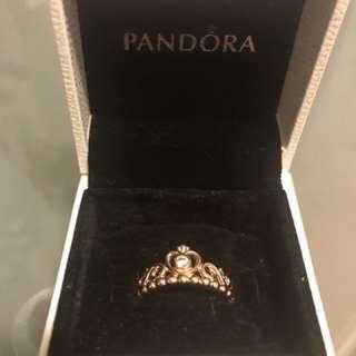 Pandora rose- princess tiara ring rrp$89