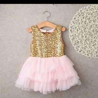Pink and Gold Sequin Dress