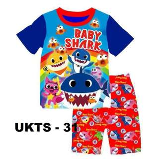 Baby Shark Short Sleeve Tshirt/Shorts Set for (2 - 7 yrs old) Instock