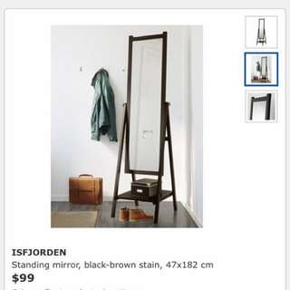 IKEA Brown/Black Stained Wood Mirror