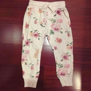 二手Zara kid💕女童浪漫花卉雙口袋休閒褲5號110公分