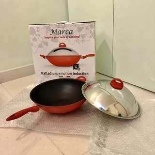 全新意大利Marca 36 cm (14吋) 連蓋鑊 wok