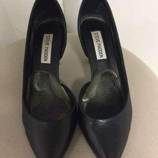 Steve Madden black leather high heels