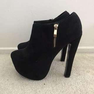 Bellini black suede heels
