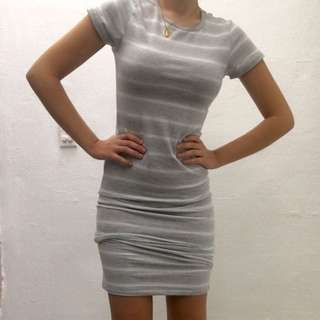 medium grey and white striped short-sleeve bodycon dress