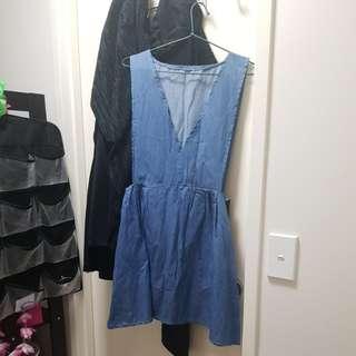 Denim blue pinafore dress