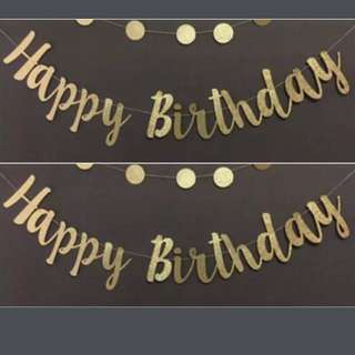 Happy Birthday Banner in Gold