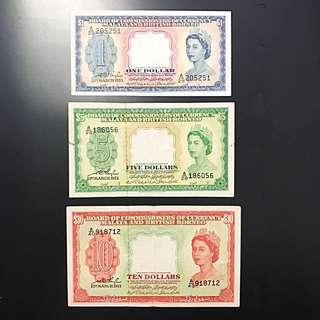 Malaya/ Singapore Queen Elizabeth 1953 set $1, $5, $10