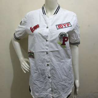 White baseball style patches button down blouse large