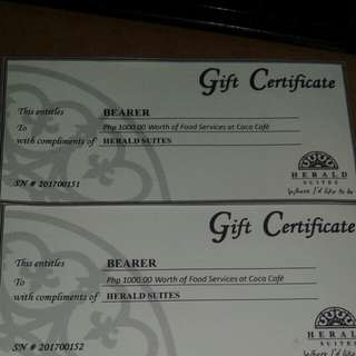Coco Cafe Gift Certificate