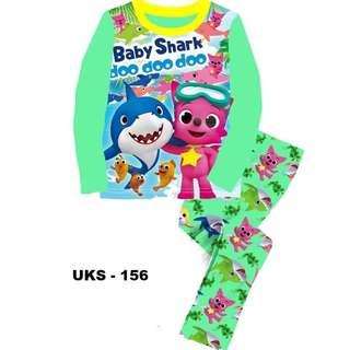Baby Shark Green Long Sleeve Pyjamas For (2 Yrs To 7 Yrs)