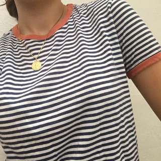 size 8 navy and white striped tee w/ orange ringer accent