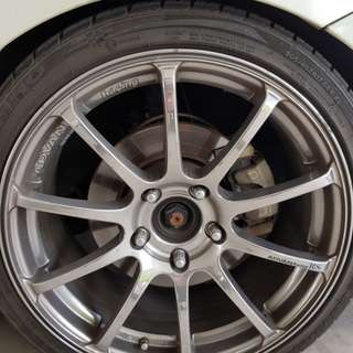 "Yokohama advan racing 17"" rim plus kumho tires 205/40/17 thread 60% for sale cash and carry"