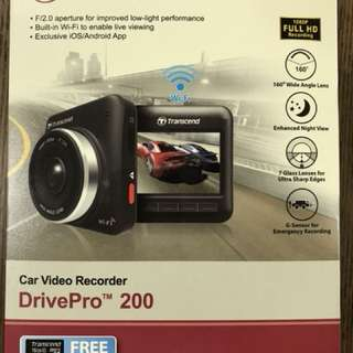 Transcend DrivePro 200 16GB Car Video Recorder with Built-In Wifi w/ Adhesive Mount