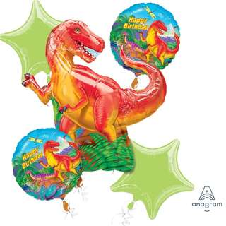 Dinosaur Party Balloon Bouquet (Helium w/ Weight) (Item #: 22283)