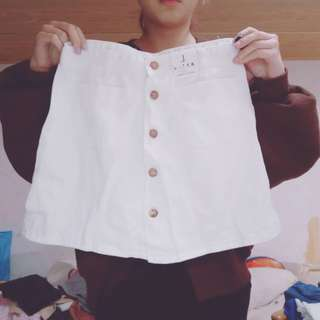 🚚 白色排扣A字短裙子