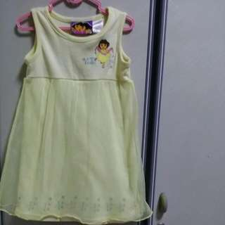 BABY CLOTHES DORA LONG GIRL DRESS WITH LACE FOR 3-4YEARS.