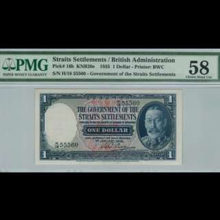 1935 Straits Settlement 1 Dollar. Graded by PMG  58 AUNC