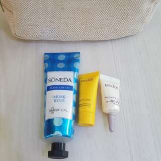 CNY/valentine promo!New Decleor 24hr Hydrating Cream 5ml, Decleor Lift & Brighten Eye 2.5ml, Soneda Handcream 50ml with Beige Cosmetic Pouch